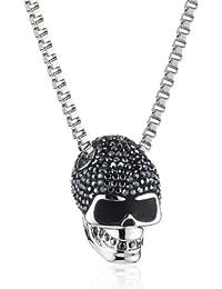 Swarovski Damen-Kette mit Anhänger Edelstahl Taddeo Skull Jet Hematite Pointiage Kristall 1.5 x 2 cm / 50 cm 1180839
