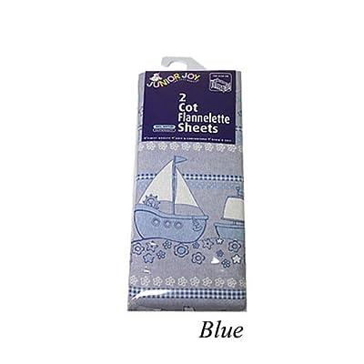 Junior Joy 6074BL - Conjunto de sábanas de franela para cuna, 2 unidades, 100 x 150 cm, color azul