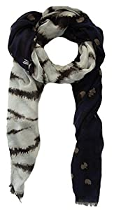 Damen Schaltuch Karen, elegante Stola, großes Halstuch ca. 90x180 cm, Tierprint Zebra Leopard