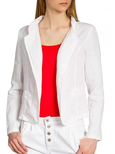 CASPAR BZR004 kurzer Damen Leinen Sommer Blazer, Farbe:Weiss;Größe:38 M UK10 US8