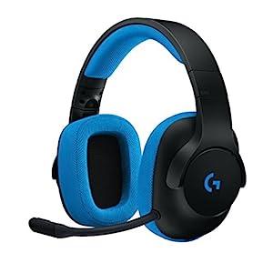Logitech G233 Prodigy Gaming-Headset, 40mm Pro-G Treiber, 3,5 mm Klinke, PC-Splitter, Abnehmbares Noise-Cancelling Mikrofon, 2 m Kabel, PC/Xbox One/PS4/Nintendo Switch/Handy/Tablet – schwarz/blau