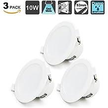 10W Focos LED Empotrables Lamparas de Techo Downlights LED Iluminacion Blanca Frío 5000K IP44 AC100~240V Agujero del Techo Ø92mm Pack de 3 de Enuotek