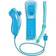 Remote Game Control, CuleedTEK Eingebauter Motion Plus Remote und Nunchuck Controller mit Silicon Case für Nintendo Wii und Wii U (Blue)