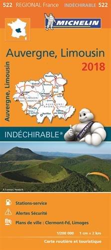 Carte Auvergne, Limousin Michelin 2018