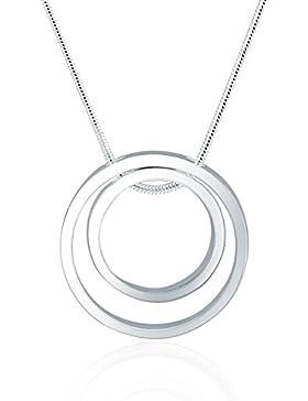 ELEGANCE PARISIENNE Modische Halskette Kreis Ring Anhänger Silber-Kette 925 Für Frauen Damen Kinder Mädchen Glitzer...