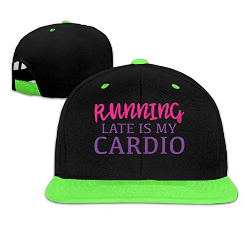 Running Late is My Cardio Boy And Girl Hip Hop Baseball Hat Green