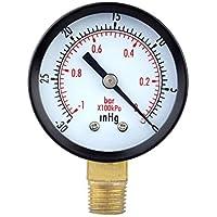 Chowcencen 0-30inHg 0-1bar Dial Indicador de presión de vacío Medidor Doble Escala Manómetro Doble Escala de presión de Aire Herramienta de medición