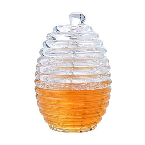 BESTONZON Vaso de Miel Miel Tansparent Dispensador de Miel Contenedor de Miel con cucharón para Jugo de Bebida Jarabe Organizador de Almacenamiento