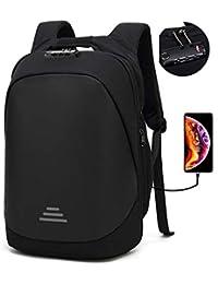 Mochila Antirrobo Seguridad USB con Bloqueo Mochila Portátil 15.6 17.3 Pulgadas Bolso de Viajes Impermeable para Negocios Estudiantes Hombre Mujer