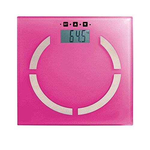 Báscula digital con medidor de impedancia en rosa.    Botones sensibles al tacto, capacidad de carga 2 - 180 kg, almacenamiento de hasta 10 personas, indicador de carga de la batería.    Básculas de baño rosa con calculadora BMI.    Colorido y a j...