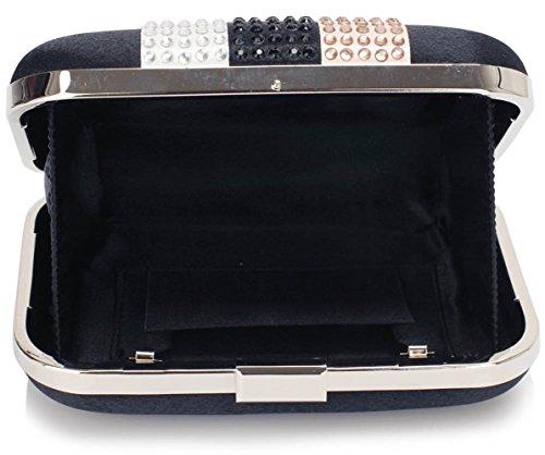 LeahWard® Damen Hochzeit Abend Unterarmtasche Bridal Hard Case Pram Ball Diamante Qualität Festival Party Taschen CWE00312 CWE00284 CWE00312-Marine