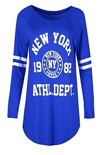 Damen Gestreift Langärmelig Bedruckt Halbrunder Saum Langärmlig Schlabber NEW YORK 1982 Pullover Kleid Top lang Minikleid Top Königsblau
