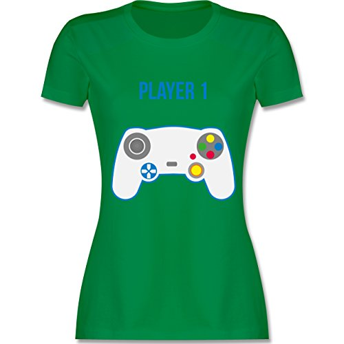 Shirtracer Partner-Look Familie Mama - Player 1 - Damen T-Shirt Rundhals Grün