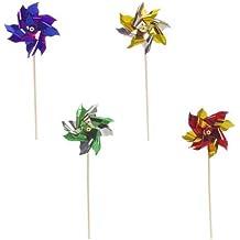 """Papstar Deko-Picker / Partyspieße """"Windmühle"""" (100 Stück) 17.5 cm, farbig sortiert, aus Holz und Aluminium, für Eisbecher, Cocktails, Kindergeburtstage, Partydeko, #16688"""