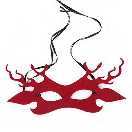 Maskerade Maske Venezianischen Karneval Filz Tuch Halbe Gesichtsmaske Mysteriöse Make Up Eyeshade Maske ( Color : Red , Size : One Size ) ()