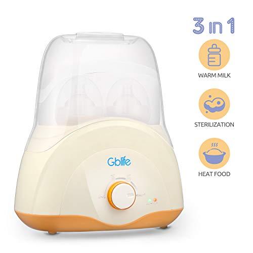 Calienta Biberones Multifuncional Calentador de Alimentos Esterilizador Biberón para Bebé Niños Diseño de Botellas Dobles Termostato Inteligente Protección de Apagado Automática Gran Capacidad