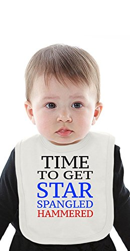 Time To Get Star Spangled Hammered Funny Slogan Organic Bib With Ties Medium Star Spangled Girl