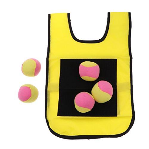 B Baosity Dogde Bal Klettballspiel Ballspiel Klett Weste Werfen Ziel Spiel für Kinder Jungen Mädchen - Gelb für Kinder, wie beschrieben