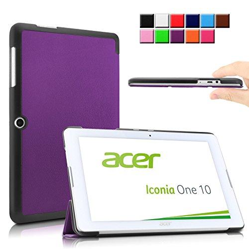 Infiland Acer Iconia One 10 B3-A20 Funda Case-Ultra Delgada Tri-Fold Smart Case Cover PU Cuero Smart Cascara con Soporte para Acer ICONIA ONE 10 B3-A20-K1Q6 - tableta - Android 5.1 - 32 GB - (10,1 pulgadas)(Pš²rpura)