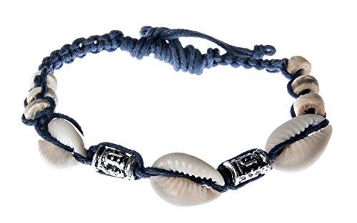 Muschelarmband Glücksbringer Geburtstag Armband Band Muschel Kauri Blau Silber