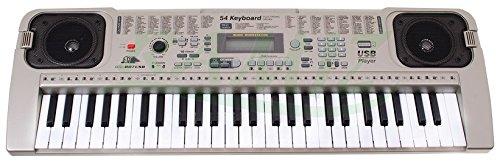 KEYBOARD MQ-807USB mit Aufnahme-Funktion, Mikrofon, USB, MP3 via USB - 100 Sounds und 100 Rythmen, zwei Lautsprecher, Lautstärkeregler, 54 Tasten, LCD-Anzeige - Electric Piano