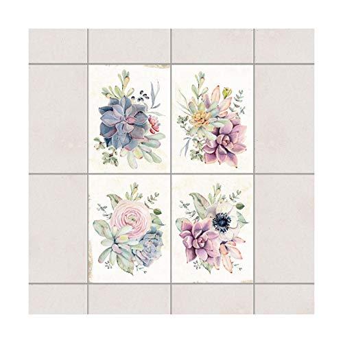 Fliesenaufkleber Aquarell Blumen Landhaus 15x20 cm Set 4teilig