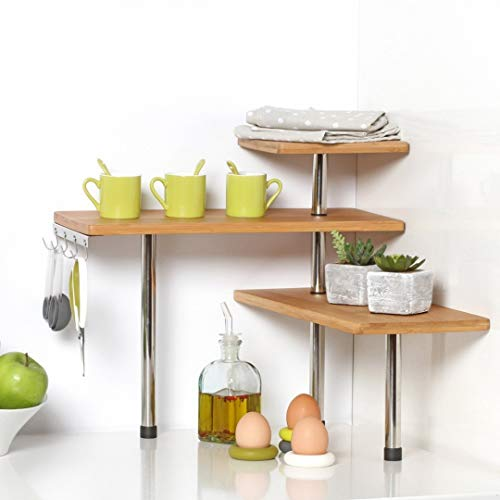 Secret de gourmet bamboo and stainless steel corner shelf unit – kitchen – bathroom – desktop – perfect space-saving idea. by