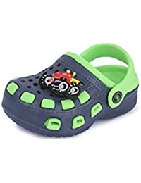 Phedarus Comfortable Clogs / Sandals For Boys With Car Design - Green & Blue (PH1335-Color)