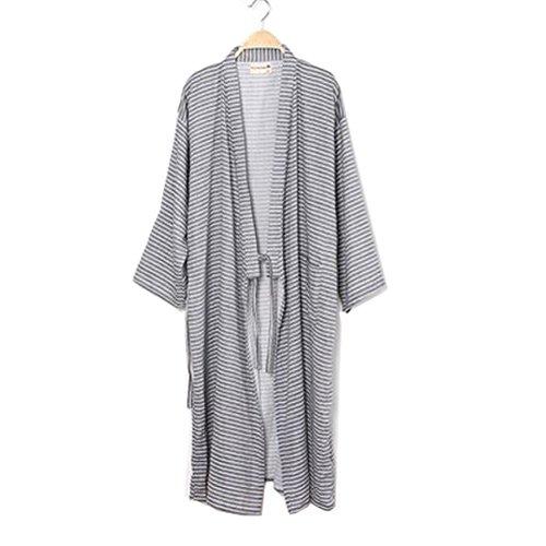 Männer Japanische Stil Robes Pure Baumwolle Kimono Robe Bademantel Pyjamas # 08