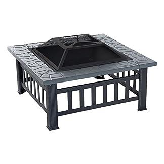 Outsunny Brasero Exterior de Metal Multifuncional Tipo Calentador 3 en 1 como Pozo de Fuego/BBQ/Cubo de Hielo para Terraza Patio y Jardín 81x81x46cm