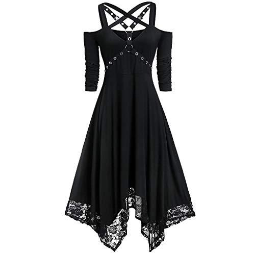 Zinn Kostüm Mann Damen - Lomelomme Halloween Gothic Kleid Damen Schwarz V-Ausschnitt Unregelmäßig Kleider Schulterfrei mit Spitze Halloween Party