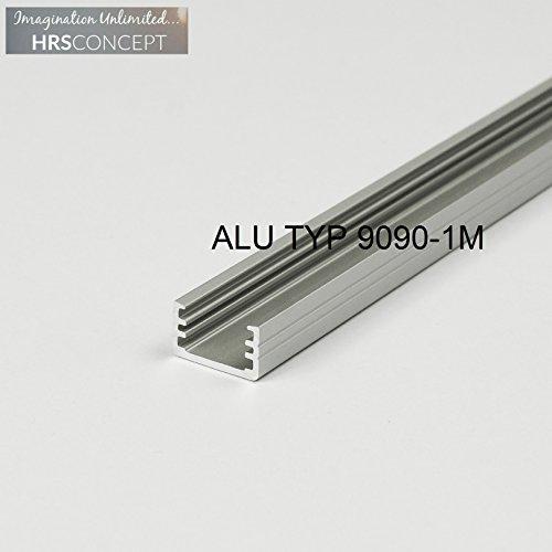 12 Edelstahl-abdeckungen (LED Alu Profil Leiste für LED Streifen / ALU TYP 9090 1M OPAL / HELITEC Aluminium Abdeckung Profil Streifen Schiene für LED-Strip Streifen Band)
