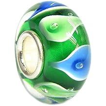Queenberry, charm rotondo, in argento Sterling, colore: blu con foglia di giglio in vetro, per braccialetti Pandora, Chamilia, Troll Biagi e altri bracciali simili