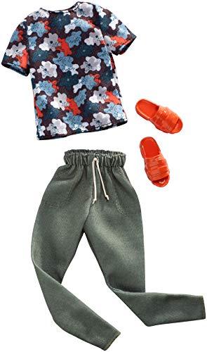 Mattel FXJ37 - Ken Mode, Kleidung buntes Shirt und Khaki Hose, mit roten Pantoffeln