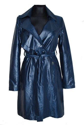 Rinascimento Damen Volant trenchcoat Kurzmantel Regenmantel Wind Mantel Jacke mit Gürtel Marineblau Gr. S, M, L (S)
