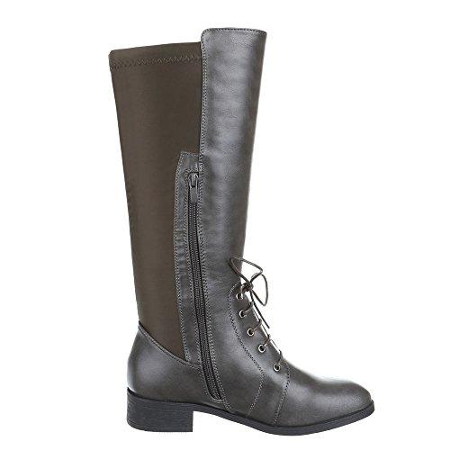 Chaussures, hB-b2879 cuir chaussures bottes Gris - Grau Braun