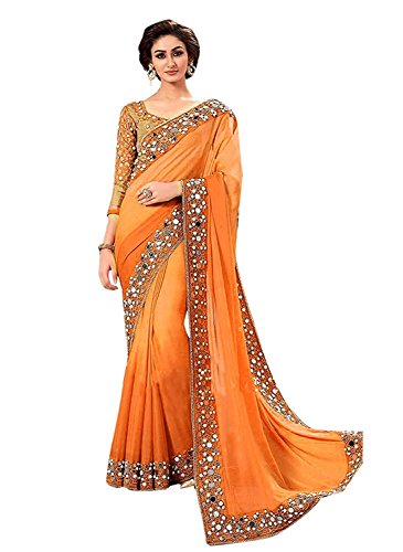 jashvi creation Women's Georgette Solid Saree with Blouse Piece - Orange_Free Size