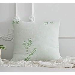 Oreiller à Mémoire de Forme 60x60cm Fibre de Bambou Oreiller Ergonomique Support et Confort de la Nuque