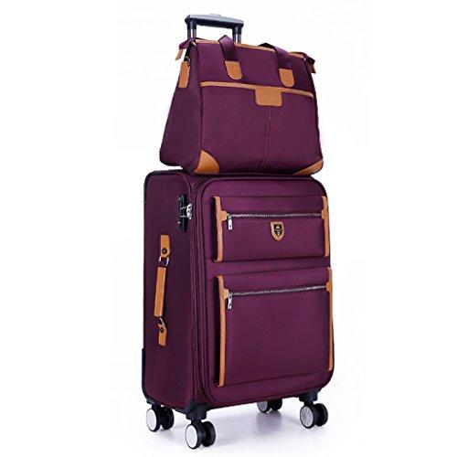 Trolley 4 Räder Business Trip Koffer Reise Outdoor Hochleistungsgepäck Lightweght Reisetasche Drag Bag Handtasche Stamm Passagier Box Rucksack (Color : Purple, Size : 18 INCHES) -