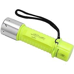 Lampe de poche de plongée, lampes submersibles LED sous-marines portables très lumineuses avec commutateur rotatif et 3 modes d'éclairage, parfait pour la plongée sous-marine de 80 mètres