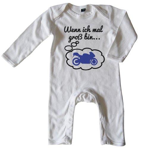 Mikalino Baby Schlafanzug Wenn ich mal groß bin.. Motorrad Schwarz-blau print, Größe_Farbe:3-6 Monate;Farbe:weiss (Motorrad-jungen Schlafanzug)