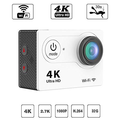 DZSM WiFi-Sportkamera Full HD 1080P Wasserdichte Nocke 2-Zoll-LCD-Bildschirm 98ft Unterwasser-Bewegungskamera unterstützt 4X-Zoom und Smart Anti-Shake, Weiß