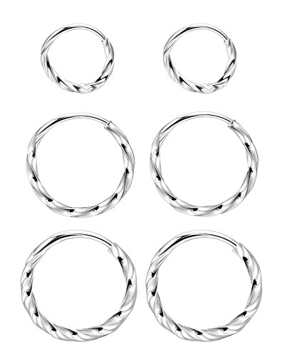 Milacolato Sterling Silber kleine Creolen dünne leichte Unisex endlose Creolen 3 Paare