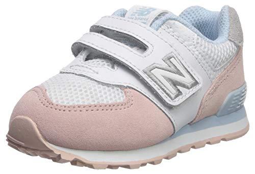 New Balance Baby Mädchen 574 Sneaker, Weiß White/Pink, 25.5 EU 25.5