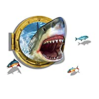 Home Wall Stickers, 3D Ferocious Shark Labels Wall Sticker, Removable Wall Decal in the Bedroom Living Room Lounges Home Decor