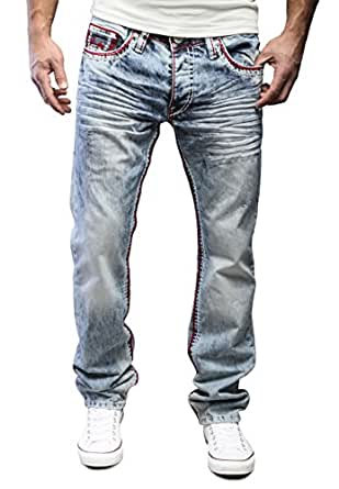 MERISH Jeanshose Herren Chino Jeans Hose DENIM Straight Fit Blue Trend J9574 Rot 29/32