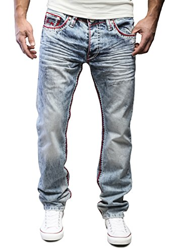 Amica by MERISH Jeanshose Herren Chino Jeans Hose DENIM Straight Fit Blue Trend j9574 Rot