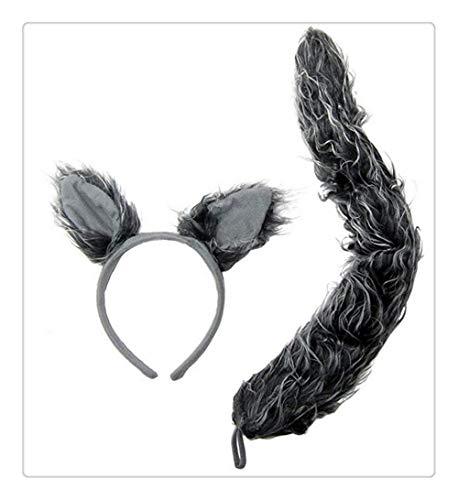 -Ohren und Schwanz, Grau, Einheitsgröße beliebtes Party-Spielzeug, Liebesgeschenk, Kostüm-Set ()