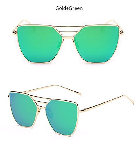 Wang-RX Fashion Brand Designer Weibliche Vintage Flat Top Pilot Spiegel Sonnenbrille Frauen Cat Eye Sonnenbrille Für Männer Uv400