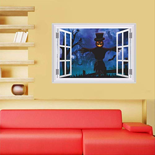 qwerdf Wall Sticker 3D Gefälschte Fenster Erschrecken Kürbisse Scarecrow Forest Wall Aufkleber Halloween Party Bar Dekoration Abnehmbare Vinyl-Wand-dekale